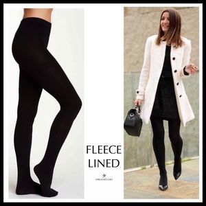 BLACK FLEECE LINED TIGHTS PLUSH COZY KNIT FOOTED TIGHTS A2C
